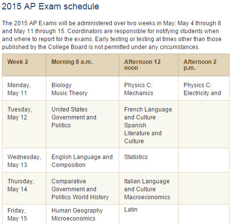 AP Week 2 Test Schedule